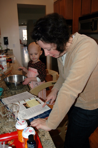 Making pumpkin muffins with Donna
