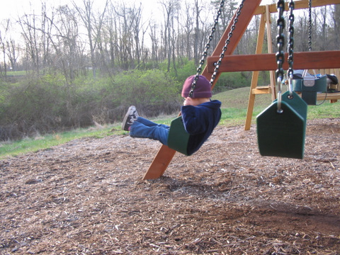 Donna on the big girl swing