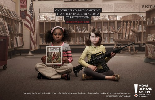 This is one of three print ads appearing in a recent PSA to raise awareness about the backward nature of gun legislation in America.