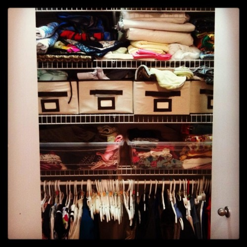 The closet.  Donna on the left, Mary Tyler Son on the right.  Hats and blankets and baby things interspersed.