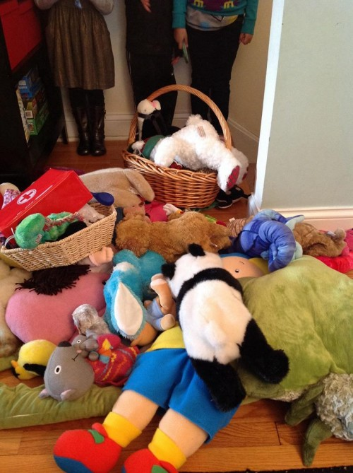 This one involved all these stuffies being saved from a burning building.  Thank goodness.