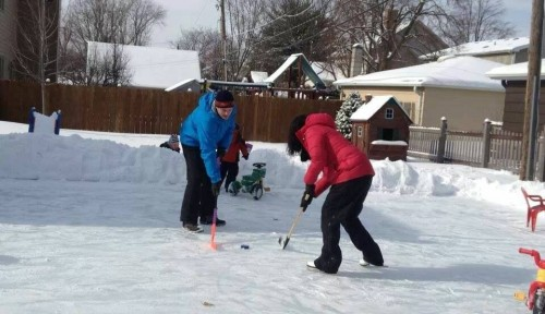 My cousins hashing it out on the back yard ice rink.  This really is too cool for school.