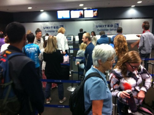 Cattle call at the United Airlines Customer Service Desk