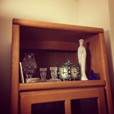 Some of my loot -- Waterford crystal my folks loved, a Marshall Field's candy dish, the Virgin Mary that lived on my Dad's dresser from 1958 until he died, a Connamara marble ashtray.  All just things, but things that call up my folks.