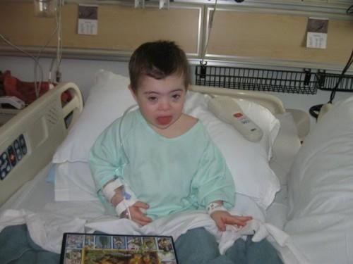 Benjamin in hospital.