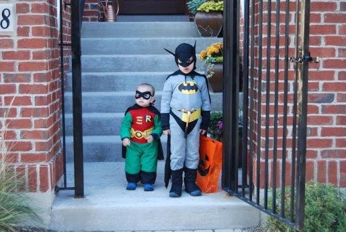 Gabe as Robin and Jack as Batman, Halloween