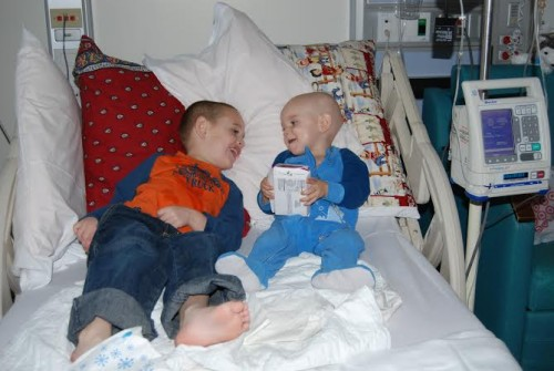 Jack and Gabe hanging out at Children's Memorial Hospital