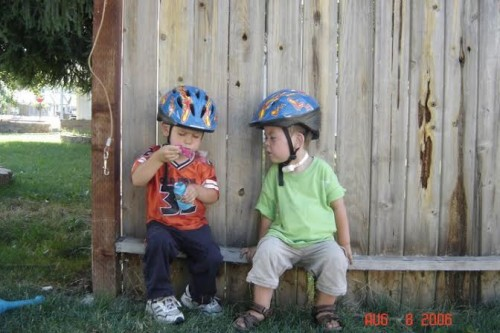 Kaden on the right with his little brother B