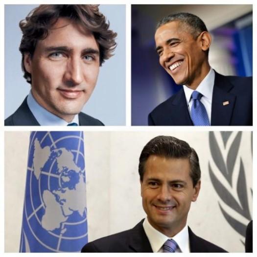 Justin Trudeau, Barack Obama, and Enrique Pena Nieto -- North America represents, my friends.