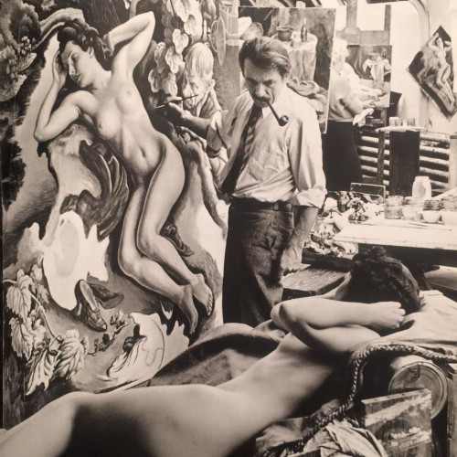 Thomas Hart Benton painting The Rape of Persephone.  How gorgeous is this model?