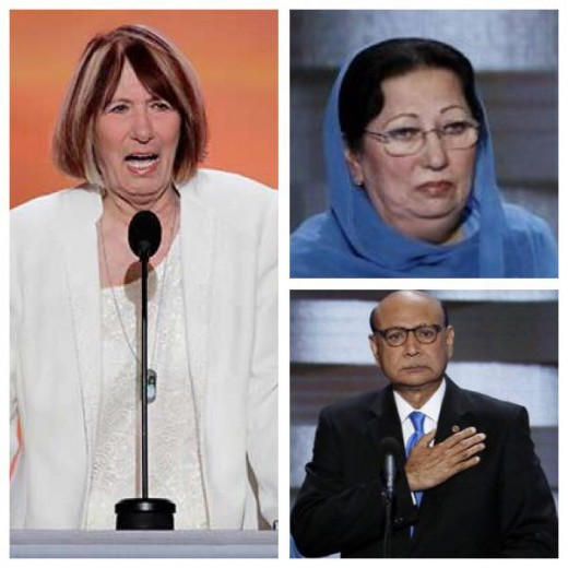 Left, Patricia Smith, mother of Sean Smith.  Upper right, Ghazala Khan, mother of Captain Humayun Khan.  Lower right, Khizr Khan, father of Captain Kahn.