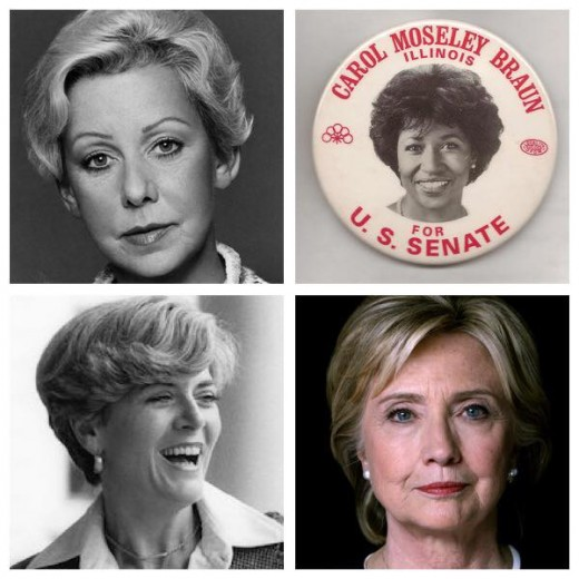 Jane Bryne, Geraldine Ferraro, Carol Moseley Braun, Hillary Clinton