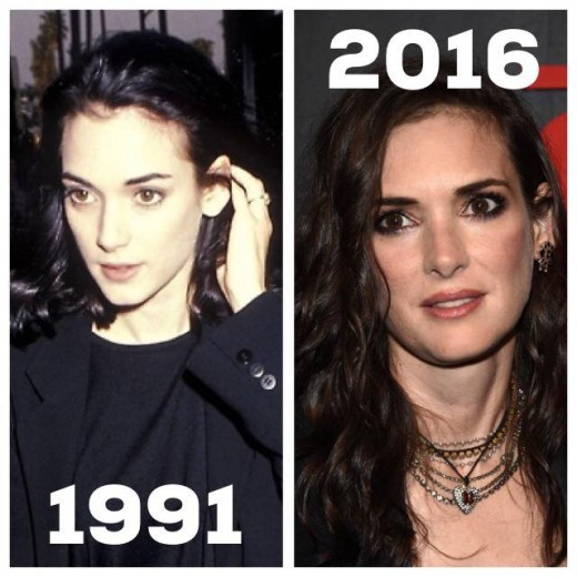Winona in 1991, the year I graduated from college; Winona in 2016, the year I fully embraced being middle aged.