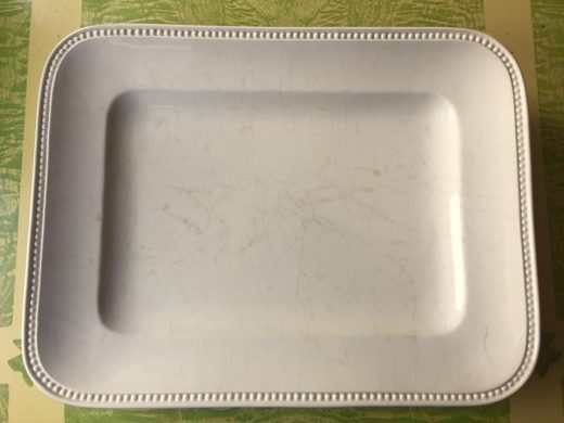 My sturdy platter, cracked, discolored, old, but still able to serve a boat load of turkey.